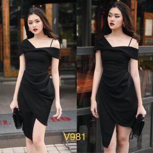 Mẫu đầm đen body sexy V981 màu đen cá tính