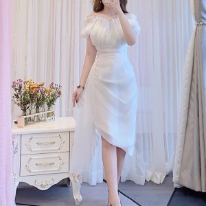 Đầm dự tiệc màu trắng sang chảnh